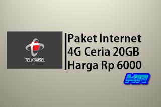 Tutorial Membeli Paket Internet 4G Ceria Telkomsel 20GB harga Rp 6000