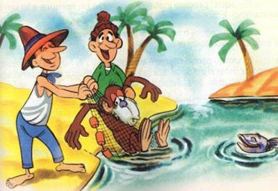 fabula corta el mono y los pescadores
