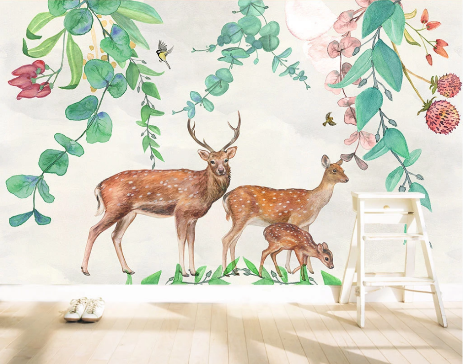 Tranh dán tường gia đinh Nai rừng - Tranh dán tường cafe trà sữa đẹp tuyệt