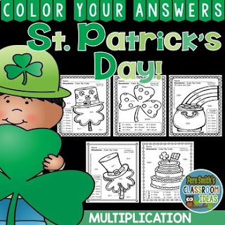 St. Patrick's Day Color by Number Multiplication