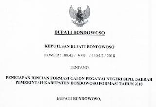 SK Bupati Bondowoso tentang Formasi CPNS 2018
