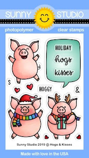 Sunny Studio Stamps: Hogs & Kisses Holiday Christmas Pig 3x4 Photopolymer Clear Stamp Set