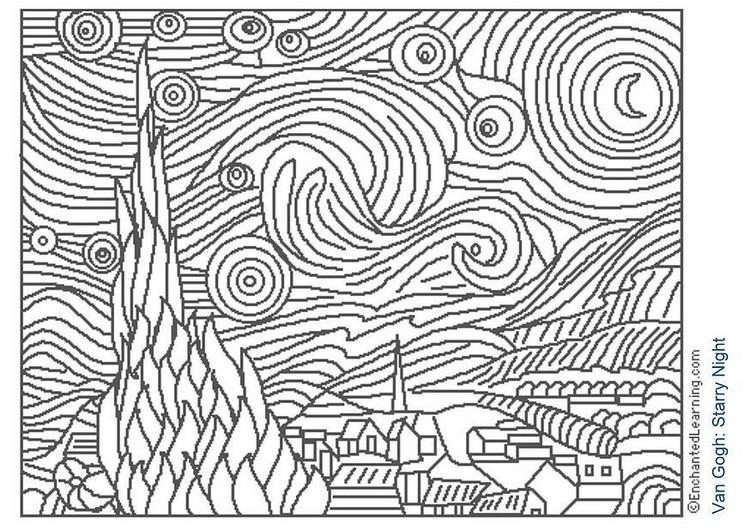 Cuadros De Van Gogh Para Colorear Imagui