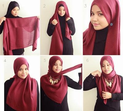 tutorial hijab segi tiga