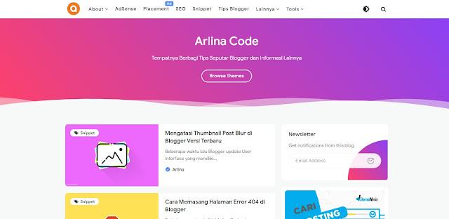 Belajar Tutorial Blogger di Blog Arlina Code