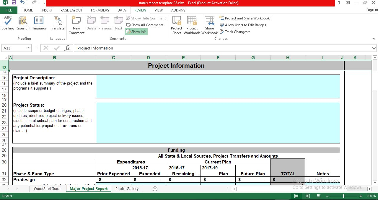 Sample Project Status Report Template in Excel
