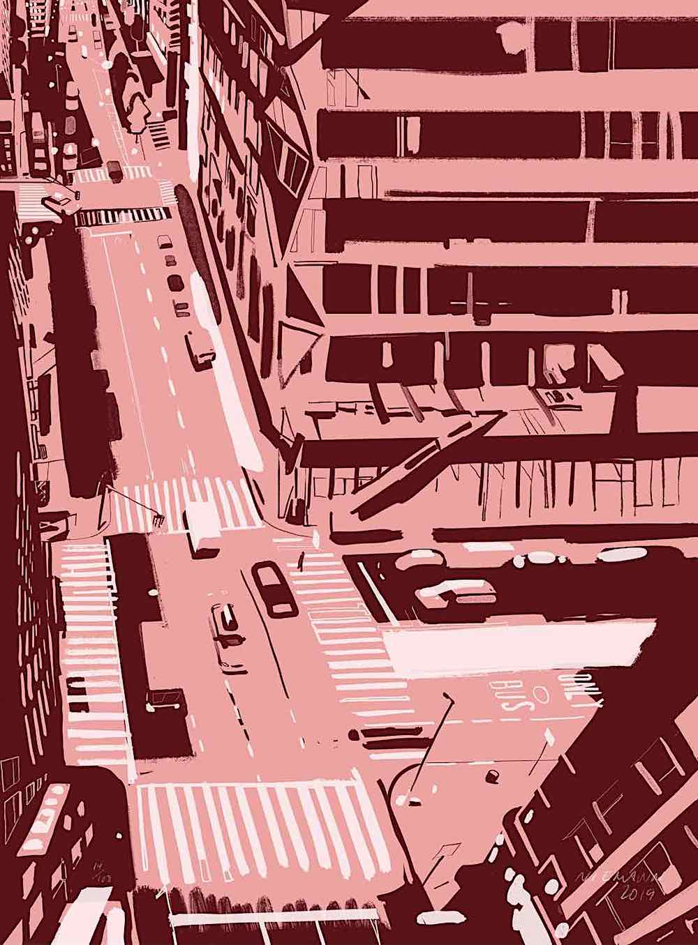 a Christoph Niemann painting, an urban scene from an aerial view in purples