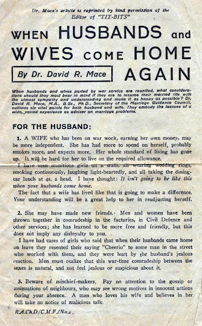 """When husbands & wives come home again"" by Dr. Mace"