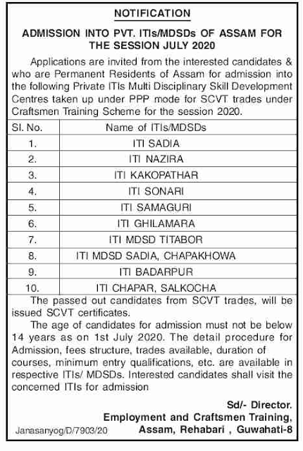 Assam Private ITI Admission 2020