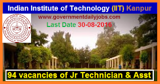 Recruitment of Junior Technician & Assistants in IIT Kanpur