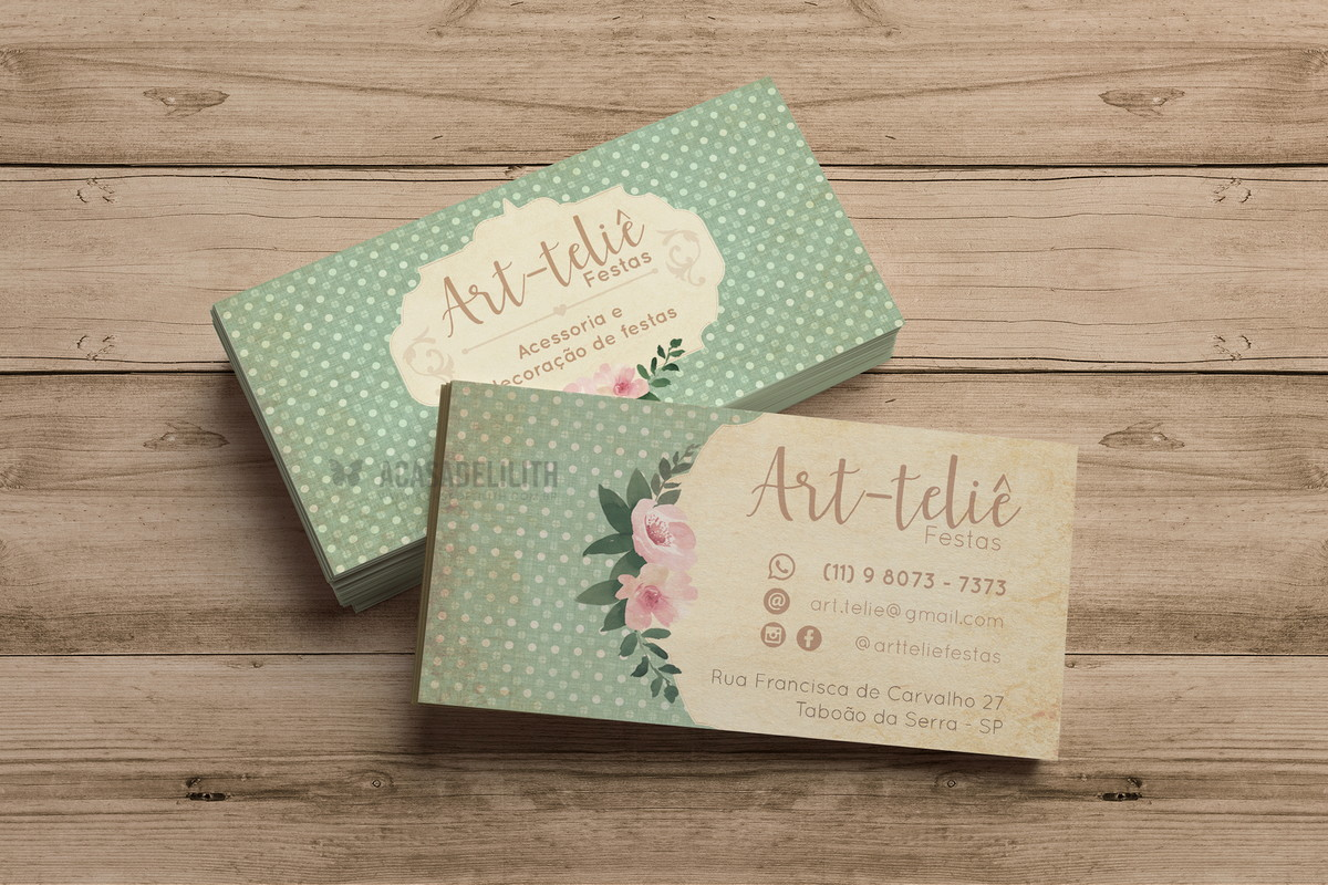 Cartão de Visita em Estilo Rústico / Decoupage para Ateliê de Festas e Eventos