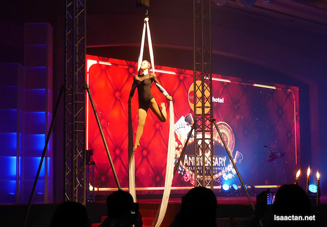 Twin aerial silk performance