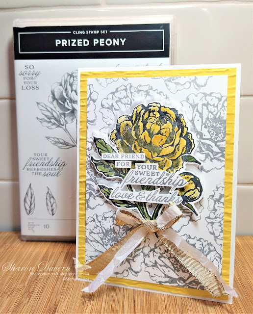 Rhapsody in craft, Daffodil Delight, Prized Peony, Prized Peony Bundle, Peony Dies, Bark 3D embossing Folder, Friendship Cards, Blender Pens, Stampin' Up!. #colourcreationsbloghop, Annual Catalogue 2021