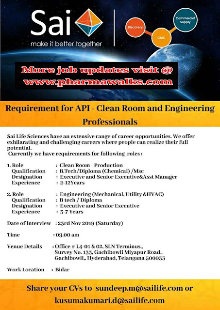 Sai Life Sciences walk-in interview for Production & Engineering kn 23rd November, 2019