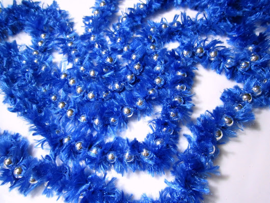 Beaded Garland Crocheted with Eyelash Faux Fur Yarn - Silver and Royal Blue