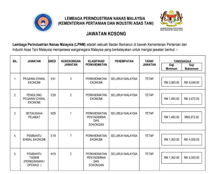 Jawatan Kosong di Lembaga Perindustrian Nanas Malaysia (LPNM)