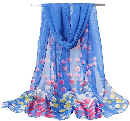 Floral Print Blue Chiffon Scarves Shawls