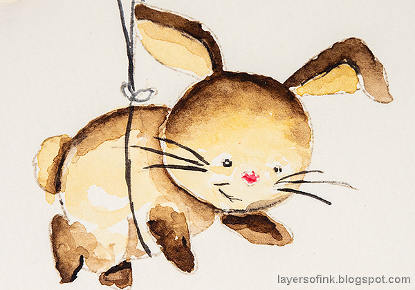 Layers of ink - Balloon and Bunny Tutorial by Anna-Karin Evaldsson. Watercolor bunny.