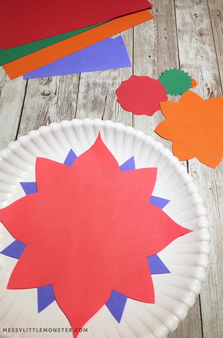 paper plate rangoli craft for kids