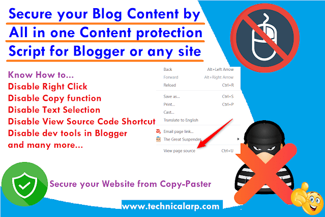 How to Disable Right Click, Copy, Select Text, View Source Code & dev tools in Blogger