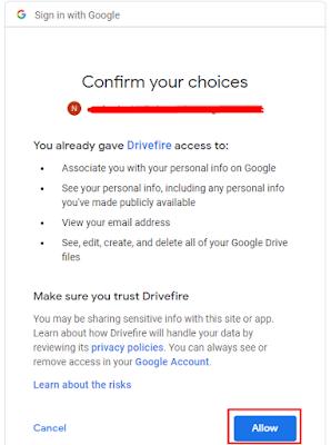 Ijinkan aplikasi drivefire