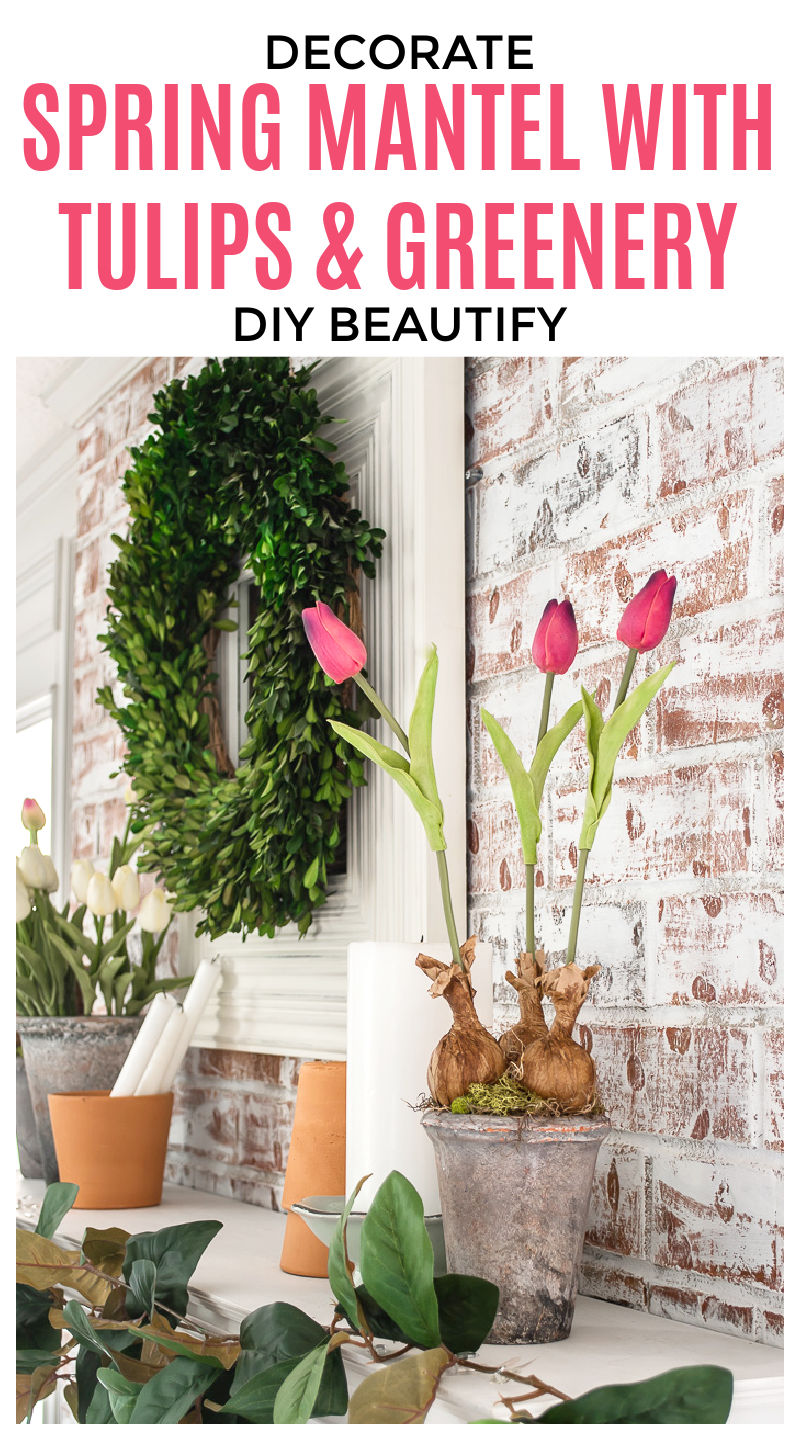 Spring mantel decorated with faux tulips and greenery