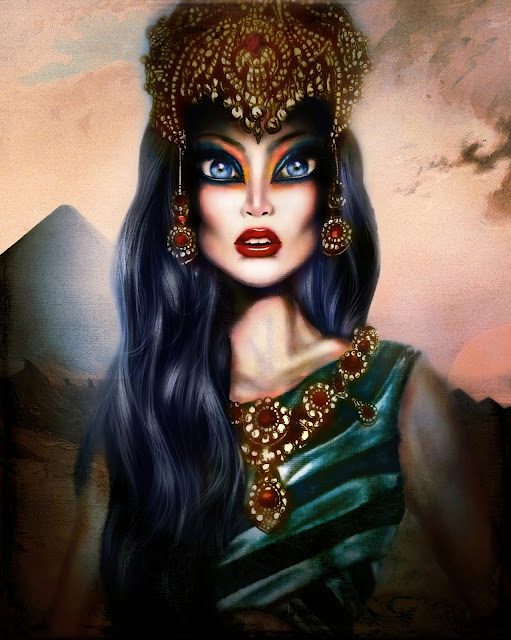 Painting of egyptian queen hatshepsut in a piramyd desert with luxurious jewlery by tiago azevedo a lowbrow pop surrealism artist