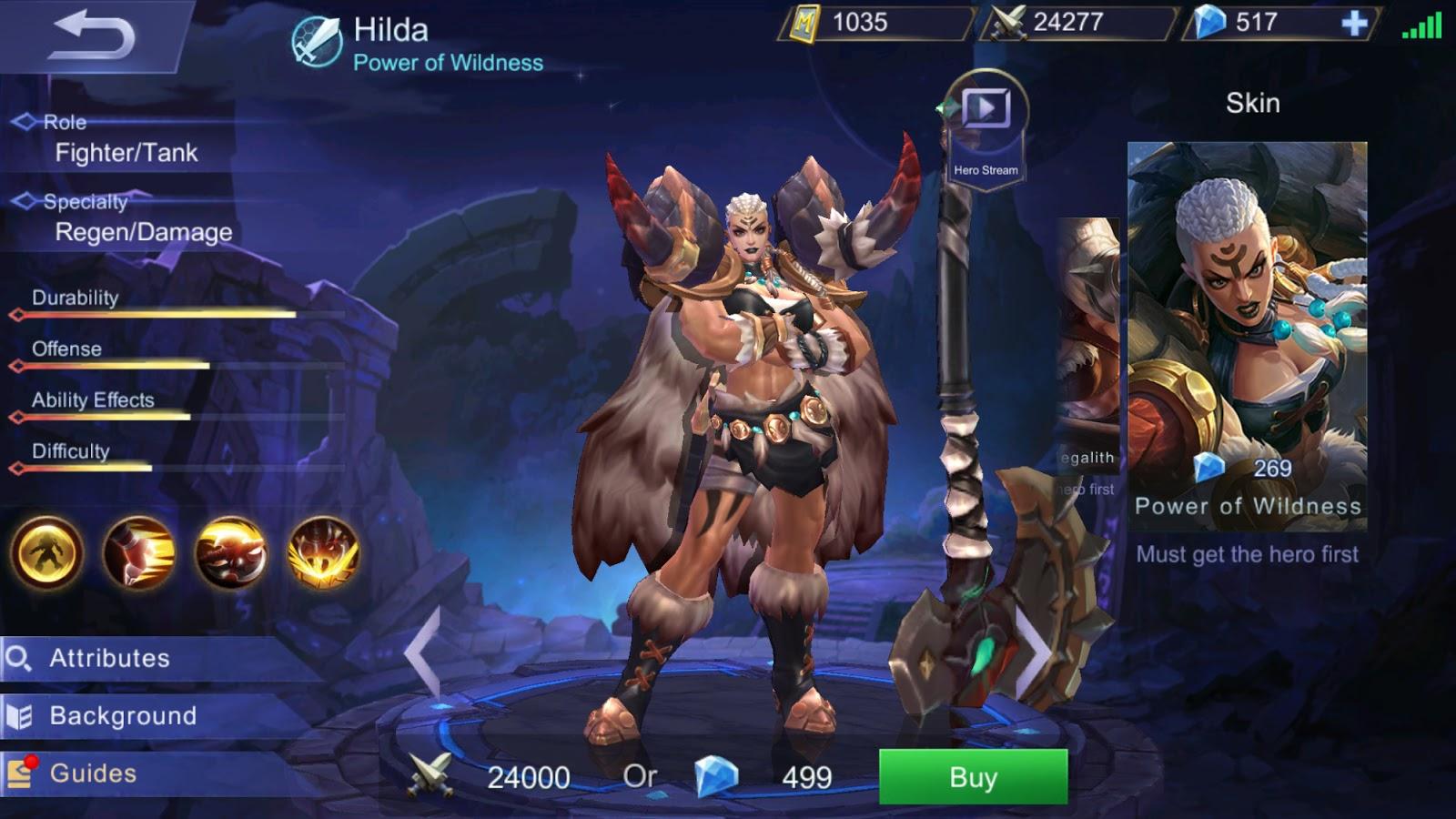 Hilda menjadi salah satu langganan Tank yang sering muncul di pertandingan level Epic ke atas.