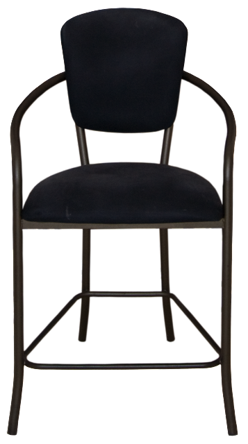 A bistro style chair with black fabric back and seat; this one has grey metal arms and legs, with a lower footrail.