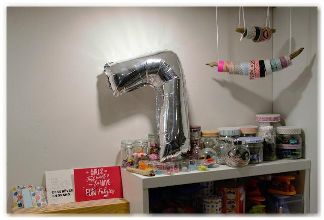 ballon argenté en forme de 7 dans atelier créatif bijou