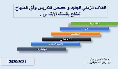 الغلاف الزمني الجديد و حصص التدريس وفق المنهاج المنقح بالسلك الابتدائي 2020-2021