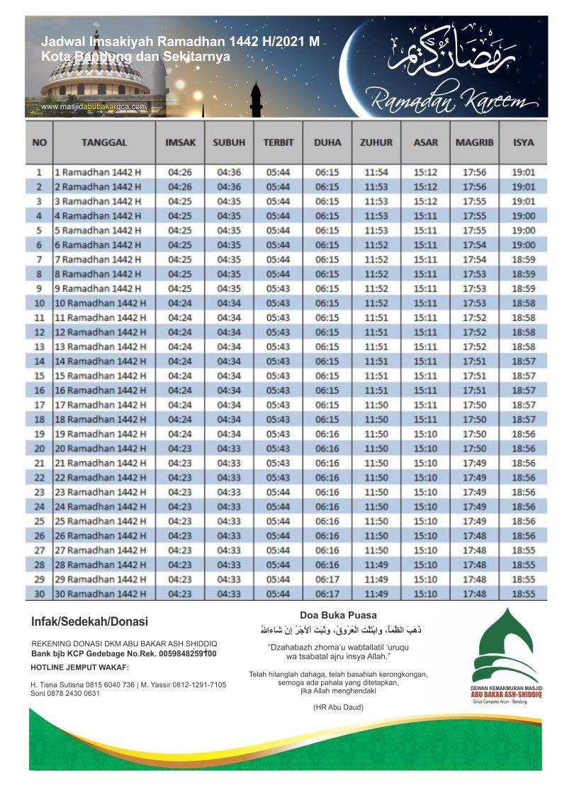 Jadwal Imsakiyah Kota Bandung 2021