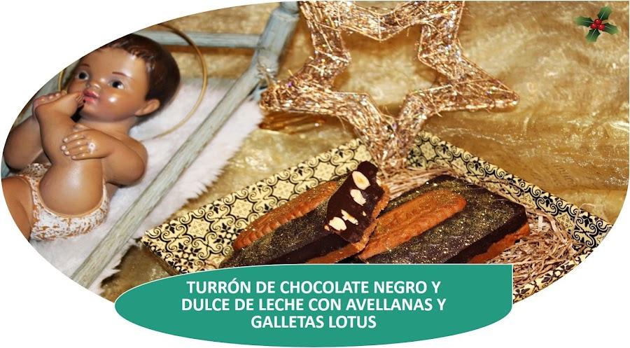 TURRÓN DE CHOCOLATE NEGRO Y DULCE DE LECHE CON GALLETAS LOTUS Y AVELLANAS
