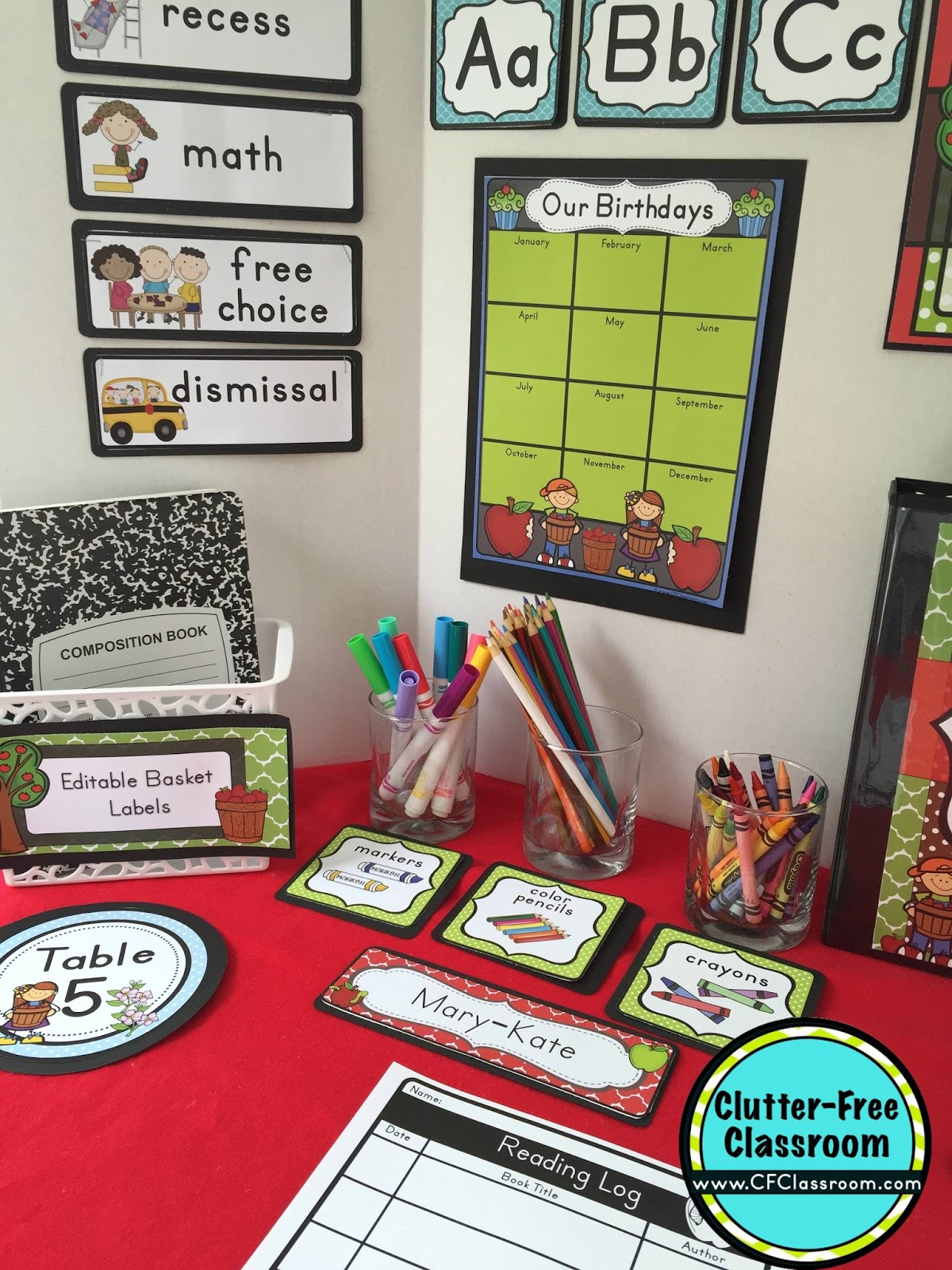 Free Classroom Decoration Ideas ~ Apple themed classroom ideas printable