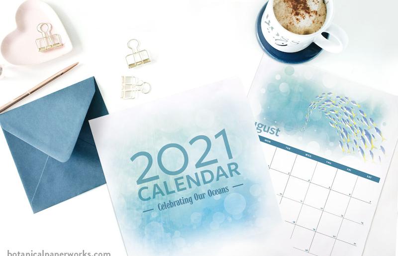 Calendario 2021 para imprimir con fondo azul