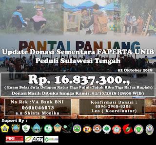 Donasi Sementara Faperta UNIB Peduli Sulawesi Tengah Mencapai  Rp. 16.837.300
