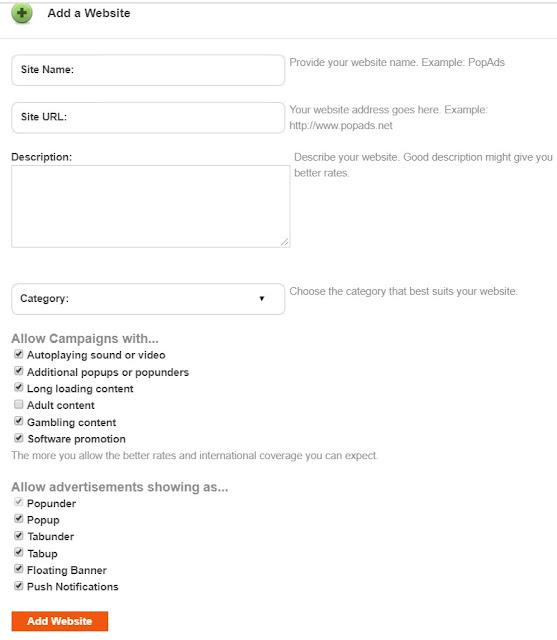 popads advertising network add website
