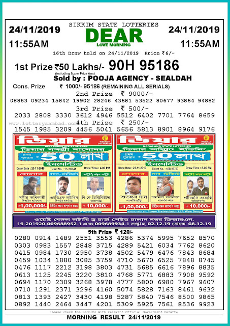 Sambad lottery 24-11-2019 Sikkim State Lottery Result 11.55 AM-lotterysambadresults.com