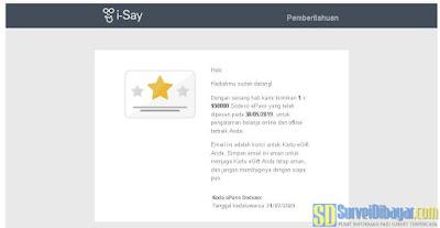 Email dari paid survey I-Say Indonesia yang berisi kode voucer Sodexo ePass | SurveiDibayar.com