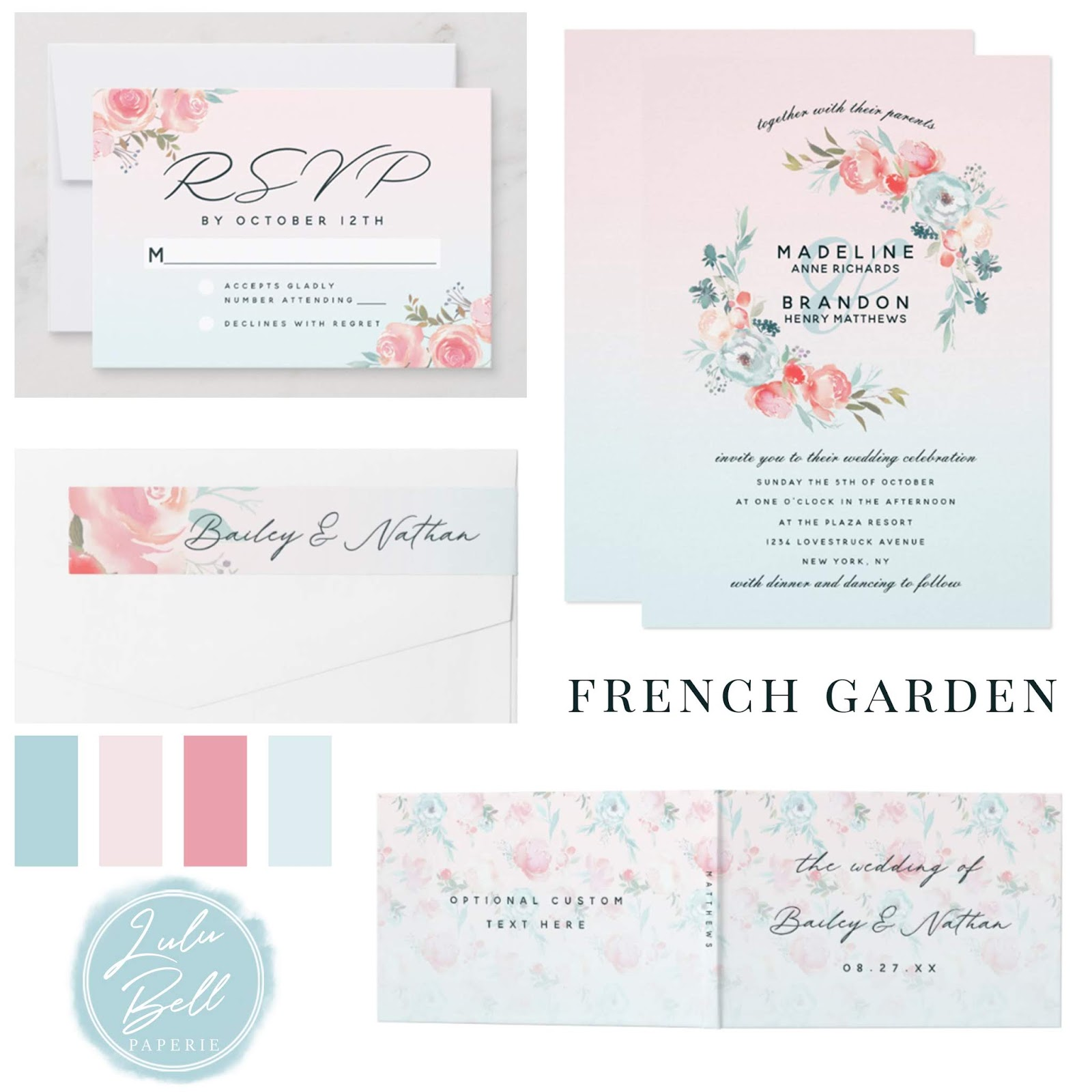 French Garden Floral Wedding Suite - Wedding Invitations, RSVP cards, Return Address Labels, and Guestbook