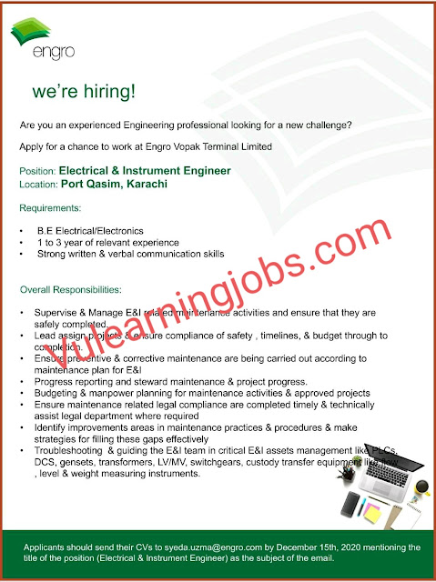 Engro Corp Jobs 2020 For Reliability & Inspection Engineer, Electrical & Instrument Engineer Latest