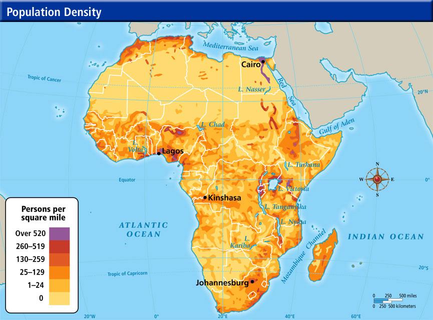 Online Maps Africa Population Density