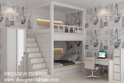 Desain kamar tidur anak bertingkat lemari meja belajar