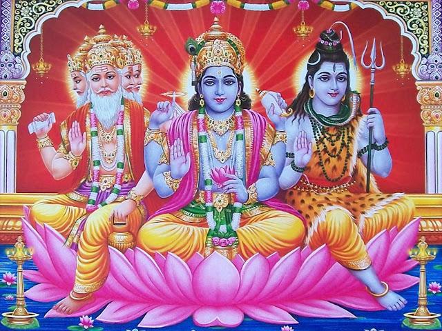 Lord Brahma Vishnu & Shiva HD Wallpaper