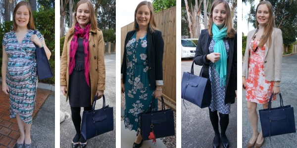 5 ways to wear a navy rebecca minkoff mab tote bag with printed dresses   awayfromblue