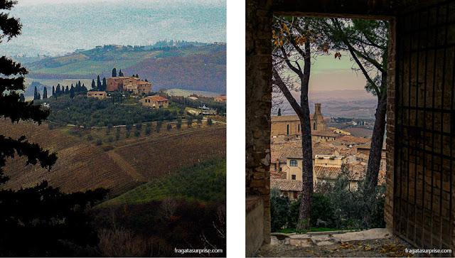 San Gimignano e a paisagem da Toscana vistas da antiga fortaleza da Rocca de Montestaffoli