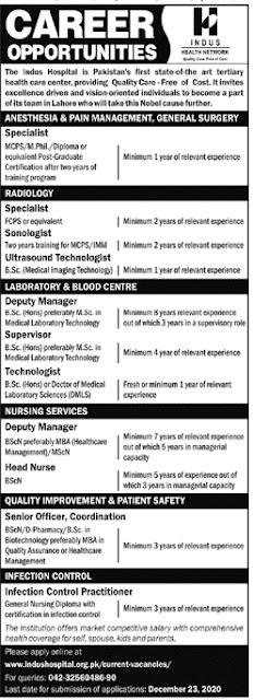 Indus Hospital Lahore Jobs 2020, Apply Online