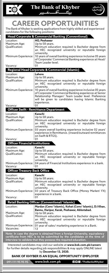 Bank of Khyber Jobs BOK Jobs Bank of Khyber Branches Jobs in Pakistan - Online Apply - www.bok.com.pk/careers New Jobs 2021