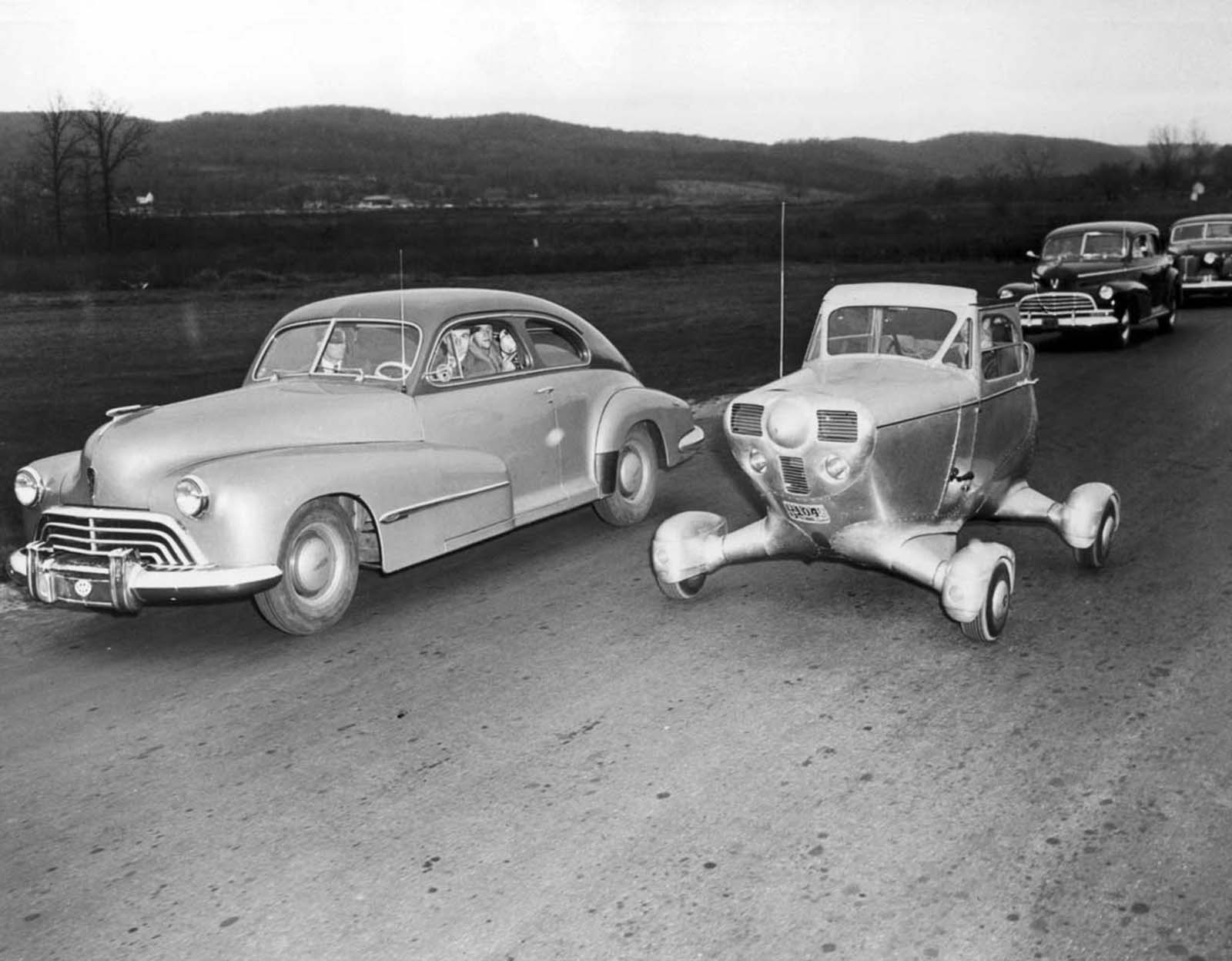 An unconventional American car adapted from the fuselage of a light aircraft. 1948.