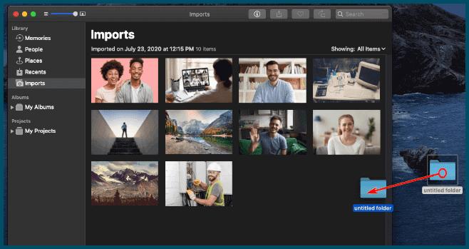 اسحب مجلدًا إلى نافذة تطبيق الصور Photos لاضافة الصور من على الماك Mac